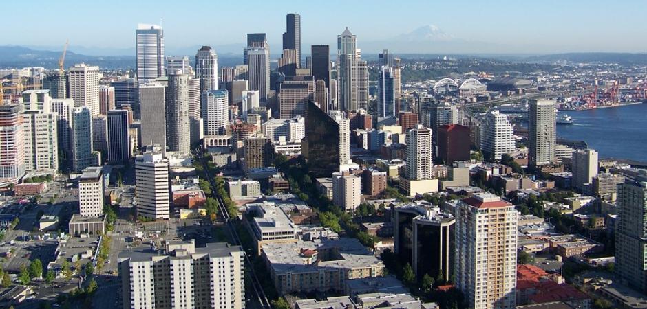 Vista do Space Needle para o centro de Seattle