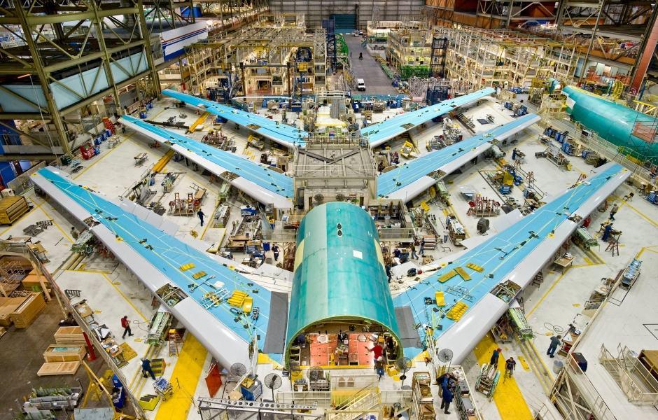 Linha de montagem - Fábrica da Boeing em Seattle