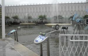 Pacific Science Center em Seattle: canhões de água na exposição externa