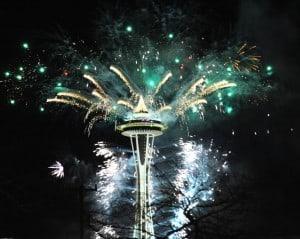 Réveillon em Seattle: queima de fogos do Space Needle