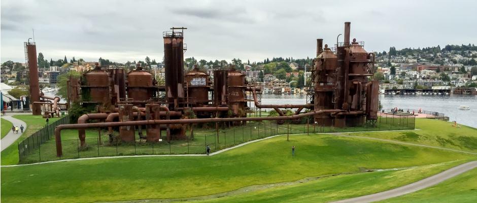 Gas Works Park em Seattle: peças da antiga fábrica de gás