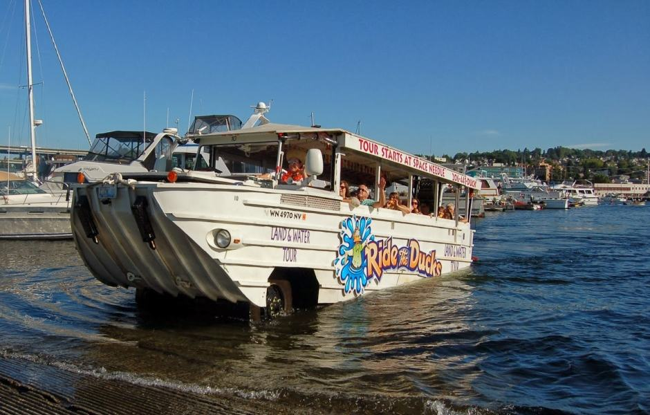 Tour do Ride the ducks of Seattle no Union Lake