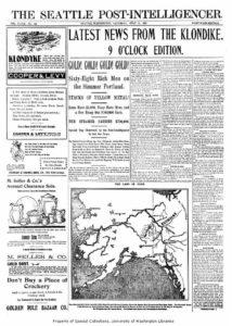 Manchete de jornal da época em Seattle