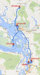 Rota da minha viagem pela British Columbia