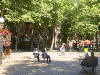 Occidental Park no Pioneer Square - Seattle