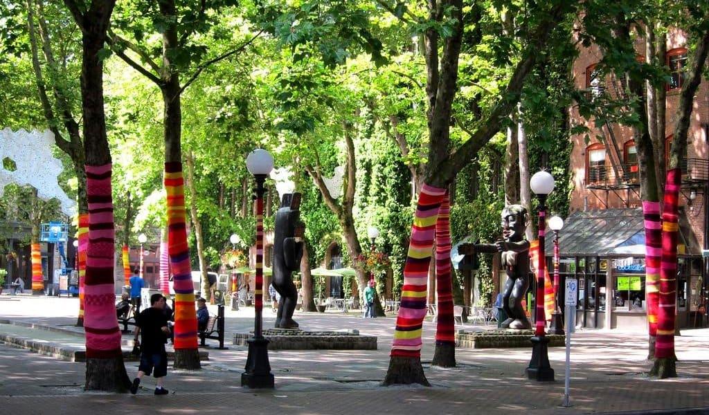 Occidental Park em Seattle: esculturas de madeira