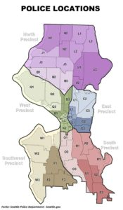 Áreas de atuação dos distritos policiais (fonte: Seattle.gov)